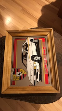 "Retro Large Porsche Stuttgart Advertising Mirror in Wood Frame HIGHT 11"" by WIDE 14"" Toronto, M8Y 1N7"