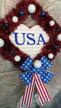 red, white, and blue U.S.A wreath Fowlerville, 48836