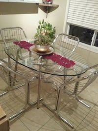 Glass Dining Table , Retro Chrome Wire Chairs Toronto, M1P 5H7