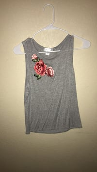 Gray and red floral tank top Horizon City, 79928