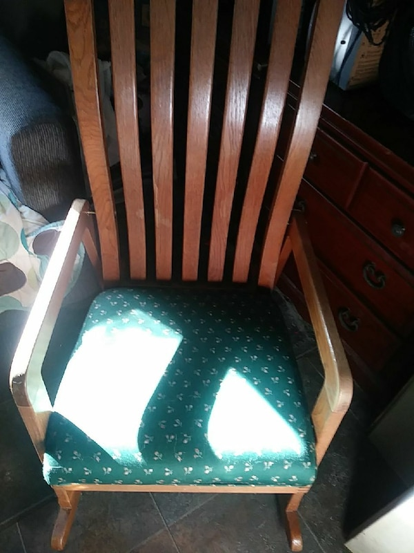 Green And White Striped Fabric Padded Chair