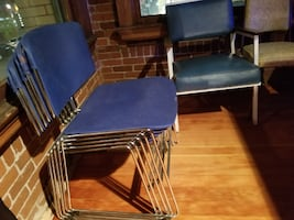 5 Retro Blue Stacking Chairs