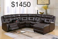 New Leather Sectional Couch with Recliners only $50 down