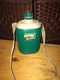 green and brown water canteen