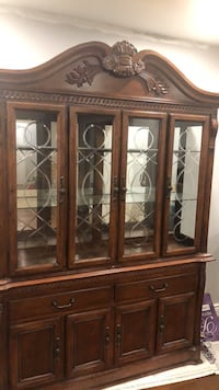 brown wooden framed glass display cabinet Brampton, L6Z 4N9