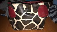 black and white leather tote bag Richardson, 75080