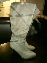 pair of gray leather knee-high boots Alexandria, 22304