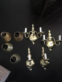 4 Brass Wall Sconces Colonial Set Columbia, 17512