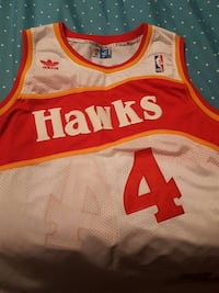 white and red hawks 4 basketball jersey
