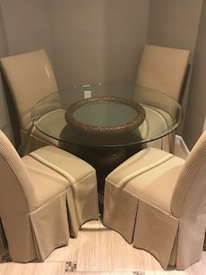 brown wicker base round glass top dining table set