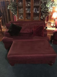 Huge oversized burgundy chair with ottoman