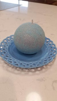 Gorgeous Glitter Globe Candle with Ceramic Dish  Phoenix