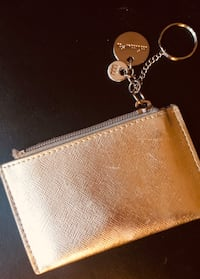 Gold Leather Card + Coin Holder w. keychain