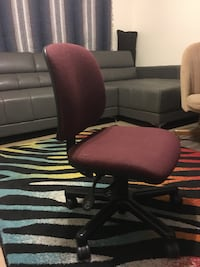 maroon padded rolling chair