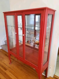 Beautiful Vintage Red Glass Cabinet with Floral Kn Bethlehem