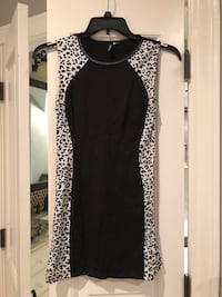Sexy black and leopard print cocktail dress