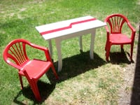 red and white wooden table with chair SYDNEY