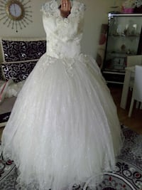 women's white studded bridal gown