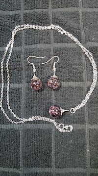 Handmade Cracked Marble Necklace and Earrings