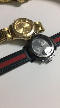 round gold chronograph watch with black leather strap Germantown, 20874