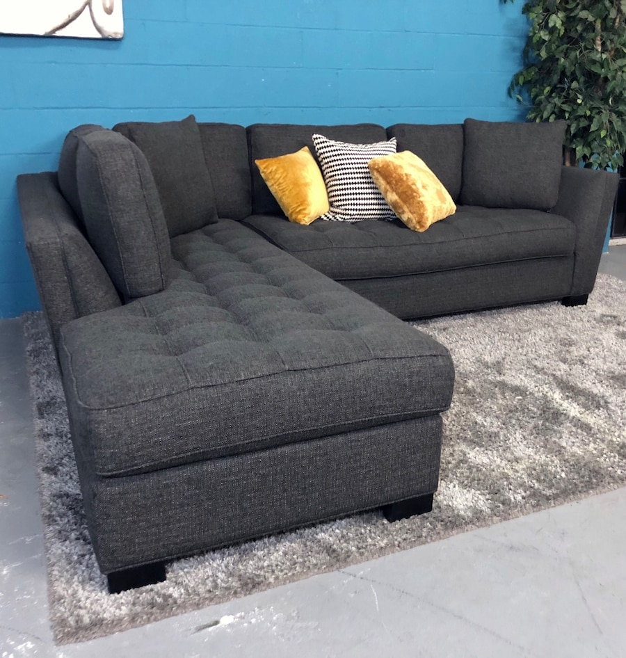 ***Cindy Crawford Calvin Heights Slate 2PC Sectional Sofa (Free Delivery)