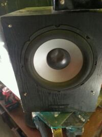 black and gray subwoofer speaker