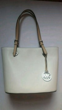 white Michael Kors leather tote bag New York