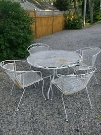 White Iron Table;  Seating for 4