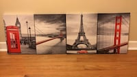 Black, white and red canvas paintings