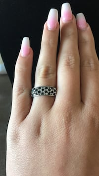 silver and diamond studded ring Lompoc