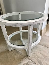 2 SHABBY CHIC SOLID WOOD /GLASS TOP WHITE & GRAY SIDE TABLES FORTLAUDERDALE