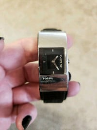 square silver analog watch with black leather strap San Antonio, 78251