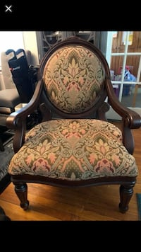 brown wooden frame white floral padded armchair Pasadena, 21122