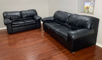 Hickory Springs Black Leather 3-Seat Hide-a-Bed Couch & Loveseat