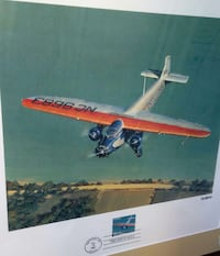 Framed trimotor airplane print + first day stamp  Woodstock, 22664