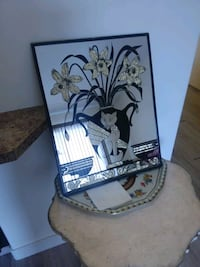 80's Vintage gold and black cat mirror.  Calgary, T2T 2W6