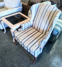 Victorian style striped wing back chair