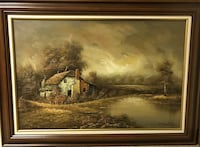 Painting - F. Swatsley - Org. Decorative Oil Landscape On Canvas Toronto, M4P 1T7