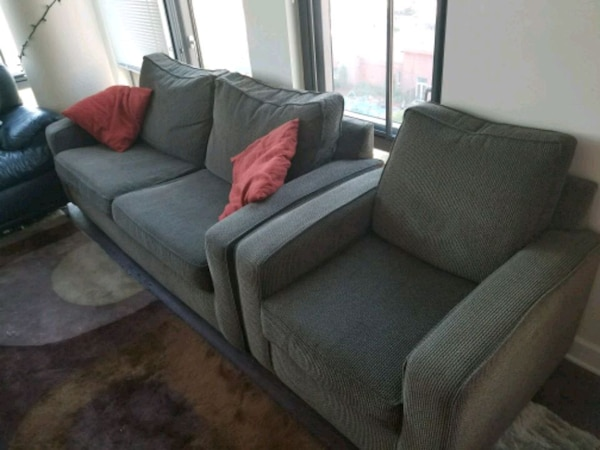 (OFFER) Cloth sleeper sofa with matching Armchair