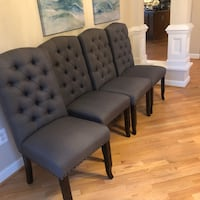 4 Gray tufted dining room chairs practically NEW! $100 each. $350/all Fairfax, 22030
