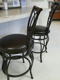 two black leather padded bar stools Millersport, 43046
