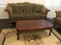 3 pc sofa set solid wood plus table , perfect condition  Toronto, M6M