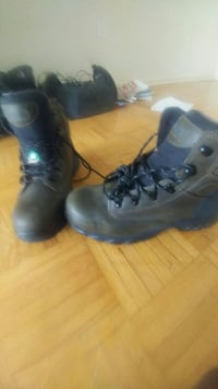 black-and-gray leather combat boots
