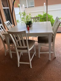 rectangular white wooden table with six chairs dining set Winter Garden, 34787