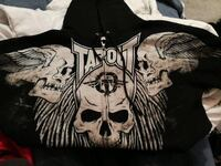 black and white Tapout-printed zip-up hooded jacket Prince George, V2L 2R4