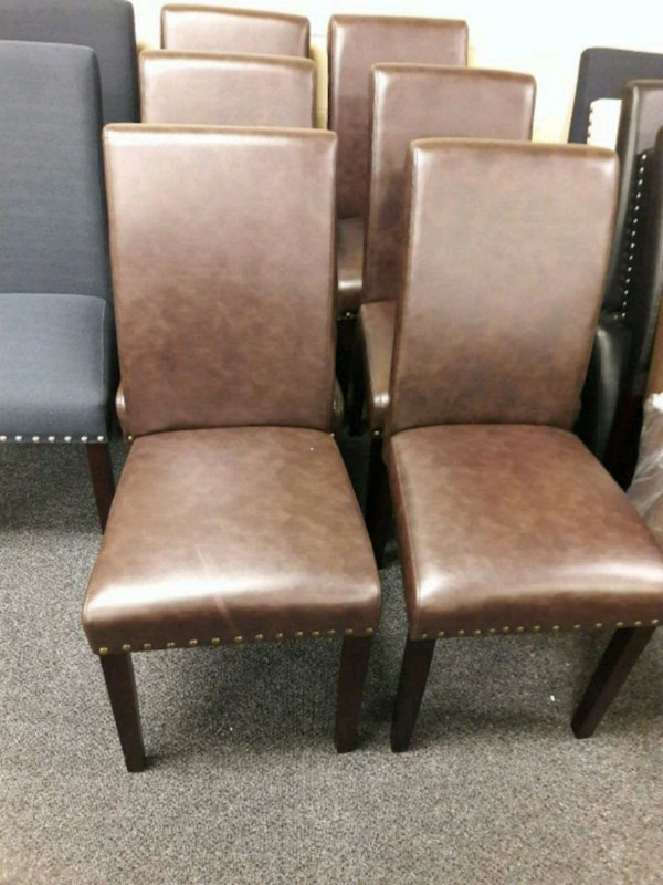 Marvelous New Dark Brown Faux Leather Dining Chairs Onthecornerstone Fun Painted Chair Ideas Images Onthecornerstoneorg