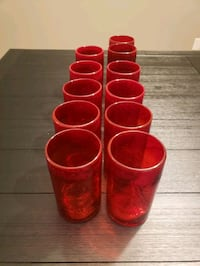 Set of 11 Red Bubble Glass Tumblers Nashville, 37013