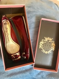 pair of red leather flats Stafford, 22556
