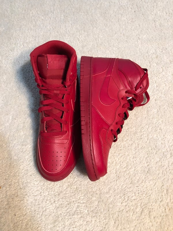 Men's Nike Big High Basketball Shoes Red Leather (Retail $100) 2bde5d1b-bd91-4f0c-a26f-731683d3d2b6
