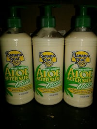 three Banana Boat Aloe after sun lotion bottles